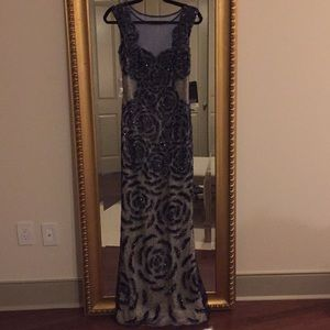 Basix black label navy embroidered gown